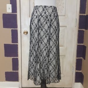 Floral lace full length lined skirt